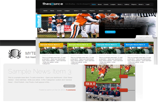 Stunning Designs. Wow your members with a shiny new free league website