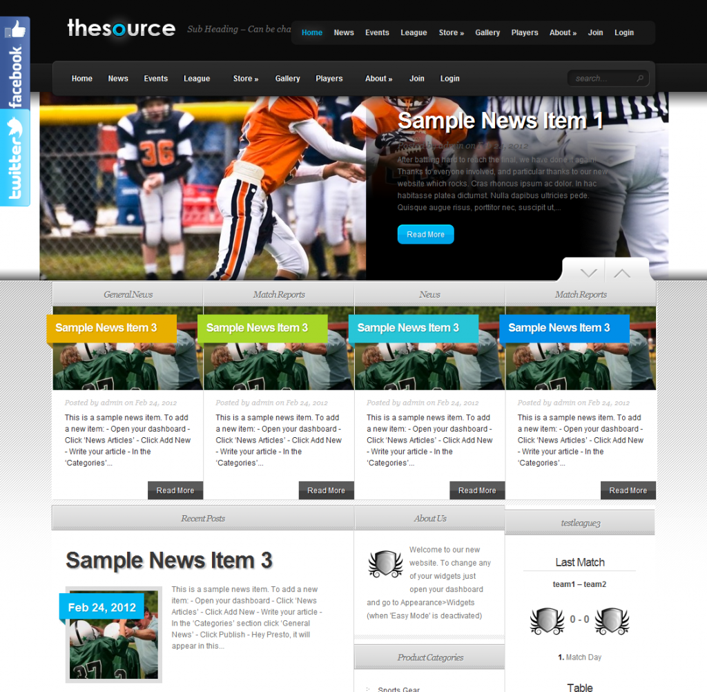 Sample teamthing.com website - The Source