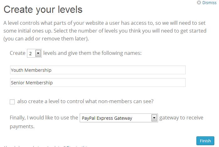 Add levels & Choose Gateway